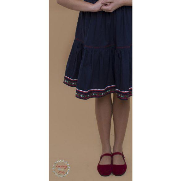 Táncos szoknya -  sötétkék, piros