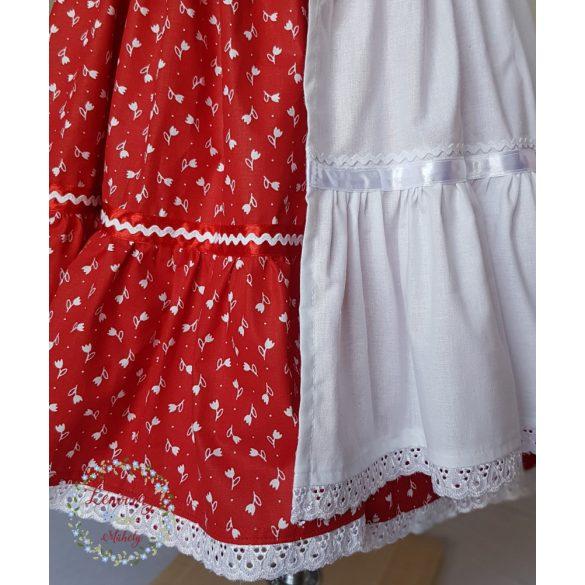 Fodros szoknya - piros virágos