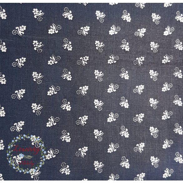 Fodros szoknya - sötétkék festős virágos