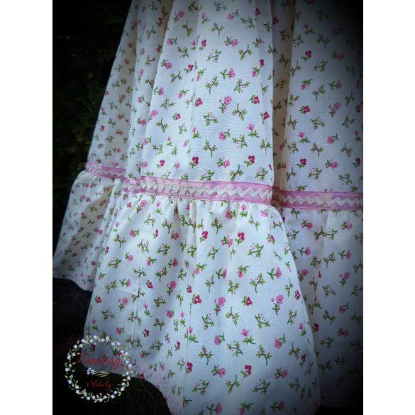 Fodros szoknya - krém, rózsaszín virágokkal