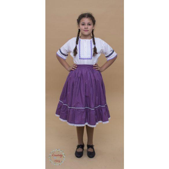 Fodros szoknya - lila aprópettyes