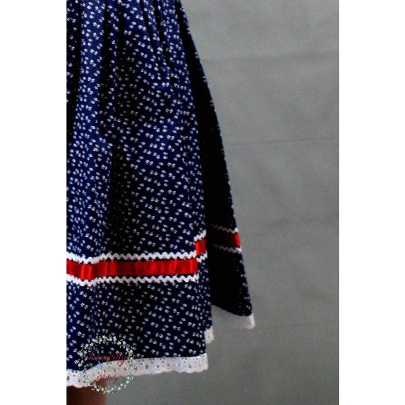 Kékfestő szoknya sötétkék - apró mintás